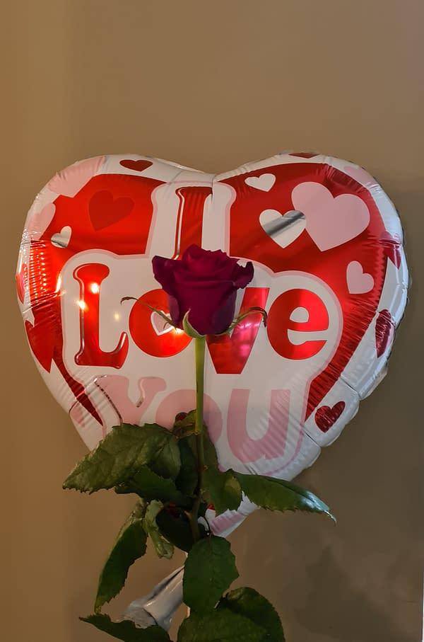 Helium ballon met roos